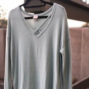 A New Day Mint V-Neck Lightweight Sweater